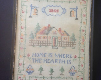 Antique Cross Stitch Sampler Dated/ Framed Hand Embroidery Home is Where The HEARTH Is Art & Collectibles Textile Art