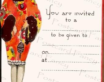 ART Deco Flapper Party Invite, Instant Digital Download, Vintage Postcard