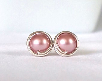Pink Pearl Stud Earings, Hypoallergenic Earring Stud, Pink Jewelry, Wire Wrapped Earrings Handmade, Pink Jewelry, Swarovski Earrings