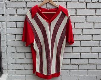 Vintage CELANESE shirt vtg clothing formal designer pattern striped collared short sleeve