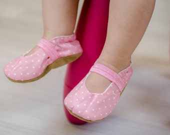 pink mary janes, pink baby shoes, polka dot booties, flower girl, shoes for girl cloth mary janes vegan baby soft sole shoe pink and white