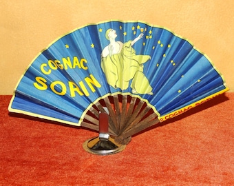 Art Deco French Paper Advertising Fan for Cognac Sorin 1925