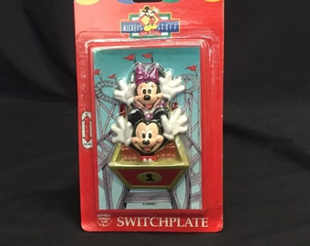 Mickey Minnie Mouse Switchplate Light Cover Roller Coaster Vintage 1990s New Mickey's Stuff For Kids Home Decor Walt Disney Parks Light Pull