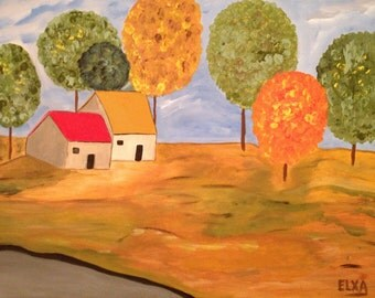 Rural Spaces, original acrylic painting on canvas