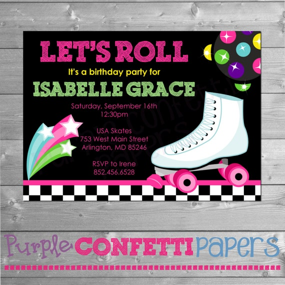 Roller Skating Birthday Invitation Printable Invitation Roller