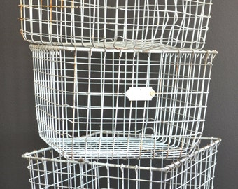 Ships Free - Vintage Wire Gym Locker Basket - home decor, display, storage and organization - Free US shipping
