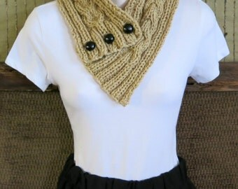 Cowl Scarf, Womens Knitted Chunky Cable Neckwarmer, Tan Winter Wool Neck Shawl, Nchanted Gifts, Australia