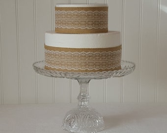Clear Glass Cake Stand /  Wedding cake stand / Baby shower cake pedestal