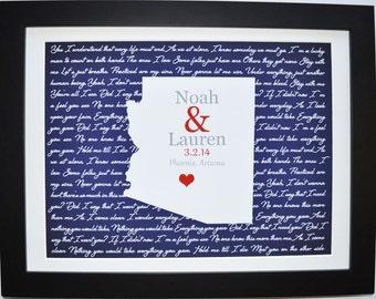 2nd anniversary gifts for men, custom wedding vows art, 2nd anniversary gifts for women, unique poem artwork, personalized song lyrics print