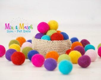 Wool Felt Balls - Mix and Match - 2CM Wool Felt Balls - Size approx. 2CM - Colorful Felt Balls - 2CM Felted Balls - 2CM - Choose Your Colors