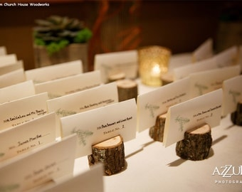 12 small rustic place card holders tree card holders place holders rustic wedding
