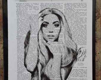 Lady Gaga Long Hair Dictionary Print