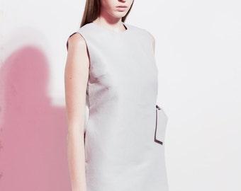 Elegant Linen Dress / Grey Linen Dress / Minimalist Dress / Linen Dress / Sleeveless Dress / Casual Dress / Asymmetrical Cocktail Dress