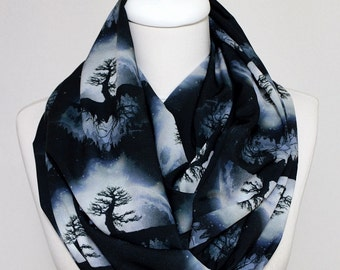 Tree of life Infinity Scarf, Moon Scarf, Loop Scarf Circle Scarf Gift ideas for her, Spring - Summer - Fall - Winter Session