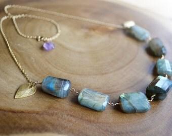 labradorite gold necklace ///  modern statement gemstone necklace /// gemstone bib necklace
