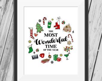 Christmas Prints, Christmas Wall Art, Christmas Printable, Christmas Decoration Print, Most Wonderful Time Of The Year - INSTANT DOWNLOAD