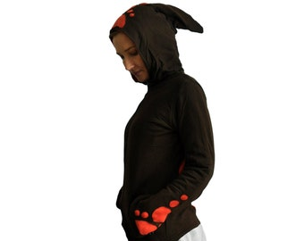 Psy Hoodie Unisex with Pointed Hood - Cotton with Fleece Lining - Cut out -Goa Style