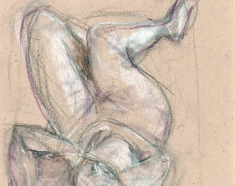 Original pastel sketch Female Nude sketch