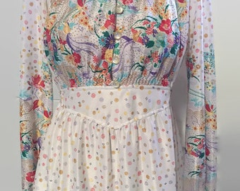 Vintage 1960s Iconic Dress Retro Shift Dress Long Sleeve Bohemian Floral 70s Brady Dress Meets Zooey Deschanel Retro Shift Dress
