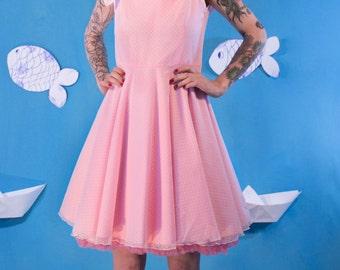 SALES Plumetti Dress / Pink Cotton Dress / Party Dress / Prom Dress / Circle Skirt  / Midi Dress / Small / Medium