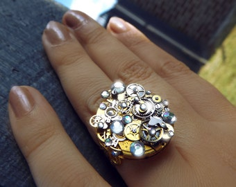 Steampunk ring, gold steampunk ring, AB crystal ring, rainbow ring, crystal ring, steampunk art, watch gear ring, filigree ring, OOAK