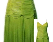 Vintage Sue Wong Evening Dress in Ruched Lime Green Fabric - Size Large to XLarge (US Sz 12)