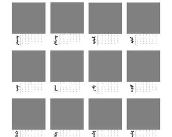 2017 calendar template / 5x7 / desktop calendar/ photoshop template / handlettering / printable / photo calendar