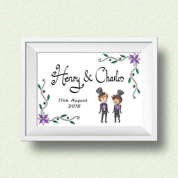 CUSTOMISABLE WEDDING GIFT - Two grooms with floral borders names and ...