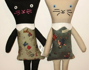 Cat soft toy, kitten toy, kitten doll, feline toy, cat plushie, kitten plushie, cat softie, siamese cat, cat teddy, black cat toy, cat doll
