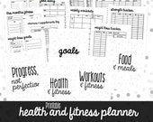 50% OFF Health and Fitness Planner, Printable Fitness Inserts, Fitness Planner Insert, Half Letter + Letter Size, 15 Pages