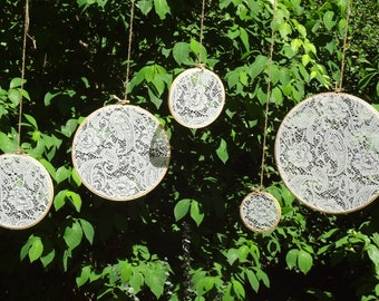 Lace Embroidery Hoop Wedding Decor, Set of Five