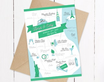 Custom Wedding Invitation Map - DIGITAL - Example New York City Wedding Map - Your Location - Save the Date Map - Custom Map Illustration