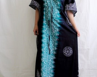 "Evening gown, Cotton dress, batik dress, Indian gown, boho dressing, ombre dress, swim coverup, night gown, lounge wear (Teal Blk TD) 55"""