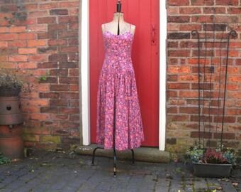 90s Laura Ashley sun dress / 1990s floral print dress / vintage cotton drop-waisted summer dress