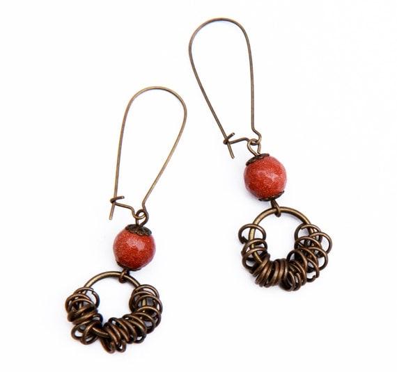 Shining earrings, Sandstone earrings,  Brown red natural stones earrings, Brass Earrings, Cheap gifts, Gift for her
