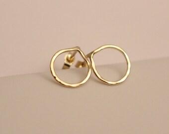 14k Yellow Gold Circle Earrings, 14k circle earrings, 14k Small circle earrings, 14k Circle Stud, 14k Stud Earrings, 14k pink gold earrings