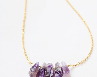 Raw Amethyst Necklace, Raw Crystal Necklace, Point Quartz gold Long Necklace, simple, natural, gemstone, unique, boho chic, OOAK, gift under