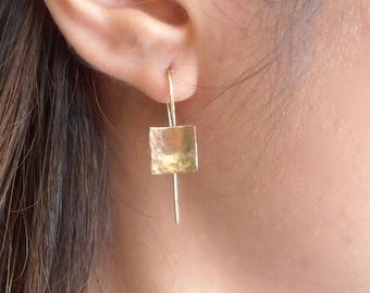 Classic hammred square gold earrings - 14K GF dangle square earrings