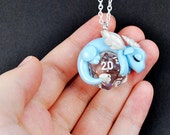 Design your own d20 dragon pendant, polymer clay dragon necklace, d20 pendant, geeky jewelry, unique gamer gift, dungeons and dragons, DnD