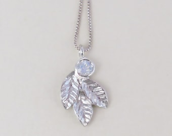 Moonstone pendant necklace, Silver leaves pendant necklace with rainbow moonstone, leaf pendant necklace, moon stone pendant