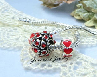 3pcs Ruby Red. European Charm Bead For All Large Hole Charm Bracelet And Necklace Chain. Hearts/Enamel Collection