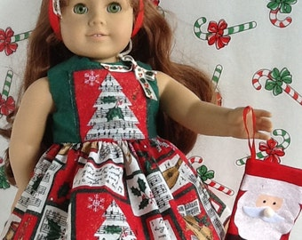 Christmas American Girl 18 inch Doll Dress Music Recital Print with Matching  Hair Bow ~FREE SHIPPING~