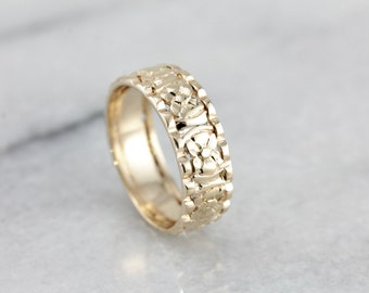 Vintage Floral Band for Wedding or Stacking, Gorgeous Yellow Gold Ladies Ring  A967Z5-N