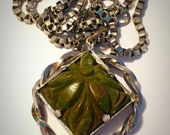 Vintage Carved Spinach Green Bakelite Pendant Necklace - Silver Tone Box Chain