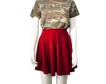 Gorgeous Red Pull-On Velvet Circle Skirt