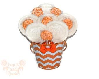 Orange and White Chevron Centerpiece, Fall Candy Buffet Decoration, Orange Candy Centerpiece, Chevron Decor, Wedding Centerpiece, Sweet 16