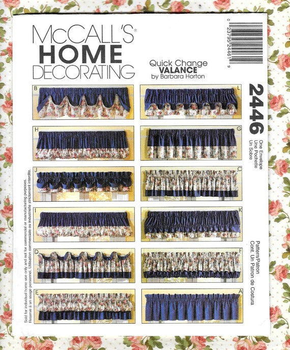 McCalls Home Decorating 2446 Sewing Pattern 12 Quick Change