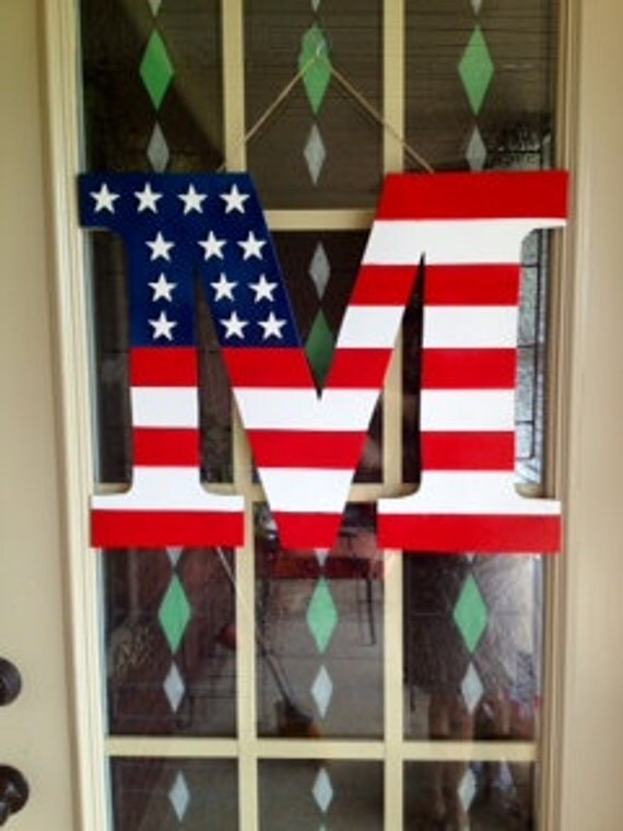 Fourth Of July Door Hanger Personalized Initial Wood Door