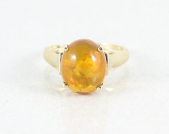 10k Yellow Gold Amber Ring Size 6 1/4