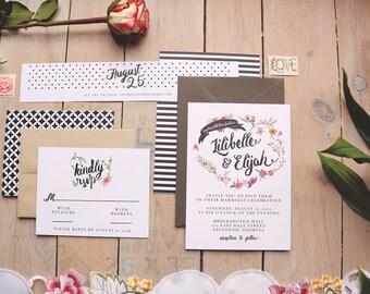 Modern Wedding Invitation Set - Boho Romance - Wedding Invitation - Floral Wreath Invite Suite - Printable or Printed